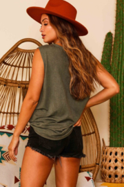 Fantastic Fawn Sleeveless Distressed Tank Top - Front full body