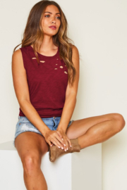 Fantastic Fawn Sleeveless Distressed Tank Top - Front cropped