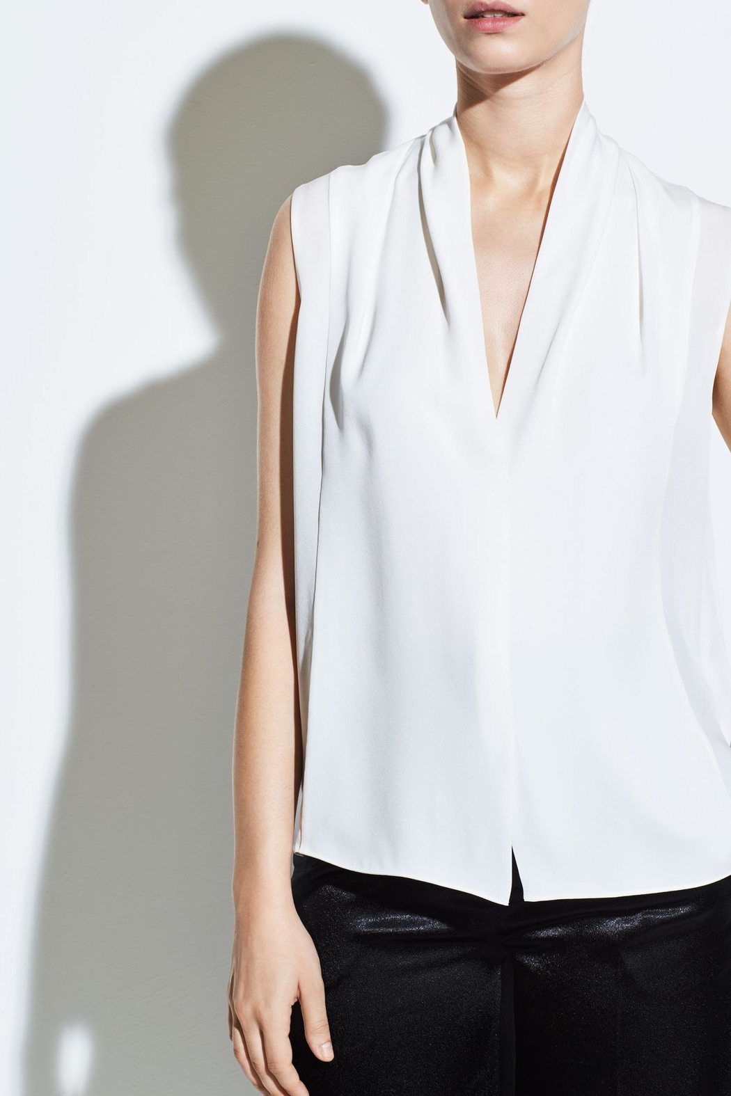 Vince Sleeveless Drape Blouse - Front Cropped Image