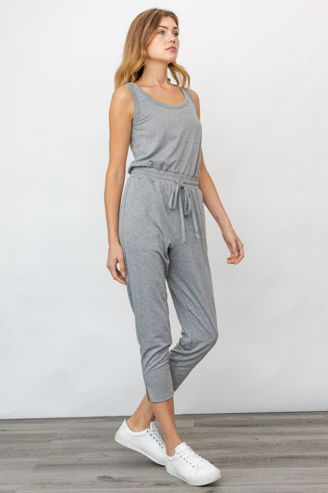 Gilli USA Sleeveless Drawstring Jumpsuit - Front Cropped Image