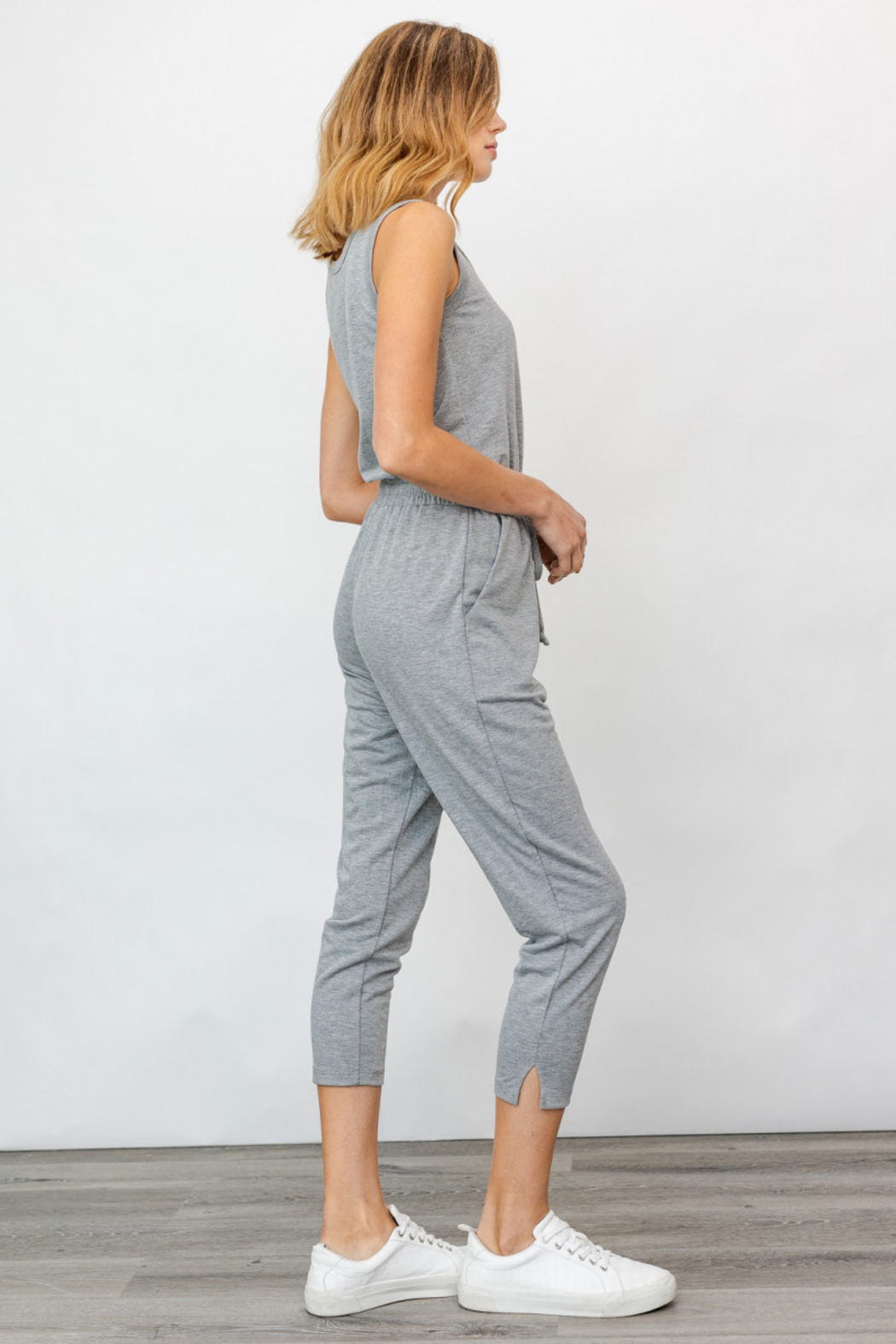 Gilli USA Sleeveless Drawstring Jumpsuit - Front Full Image
