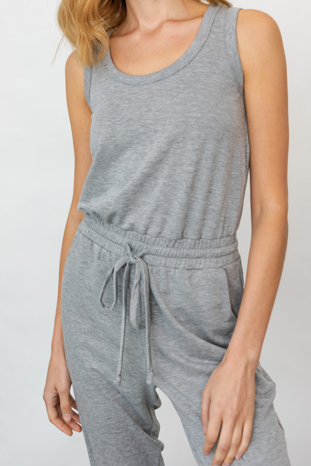 Gilli USA Sleeveless Drawstring Jumpsuit - Back Cropped Image