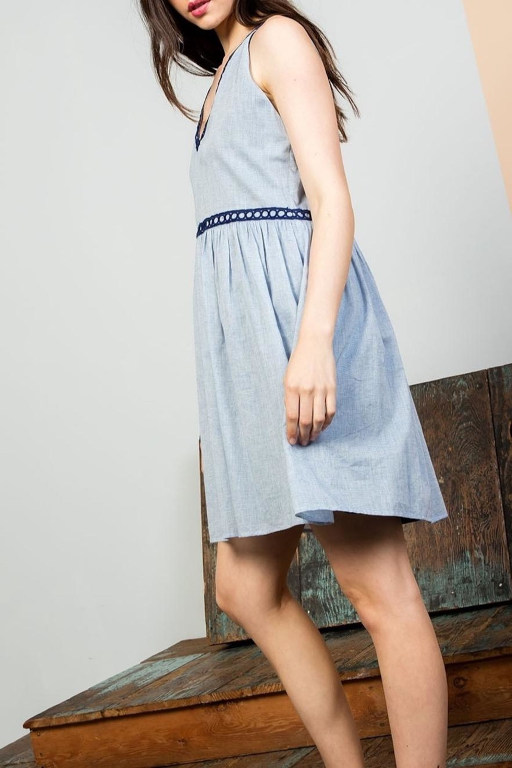 THML Clothing Sleeveless Embroidered Dress - Front Full Image