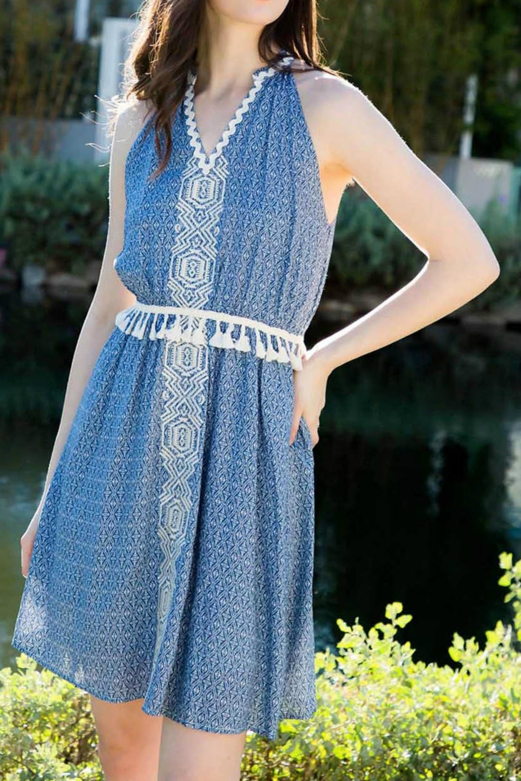 THML Clothing Sleeveless Embroidered Dress - Main Image