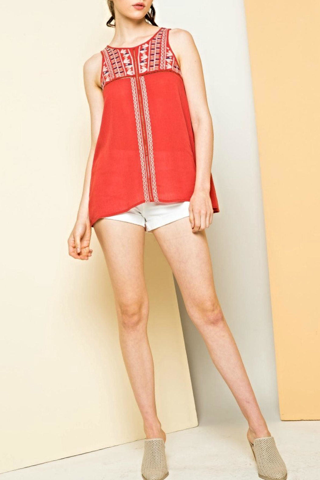 Thml Sleeveless Embroidered Top - Main Image
