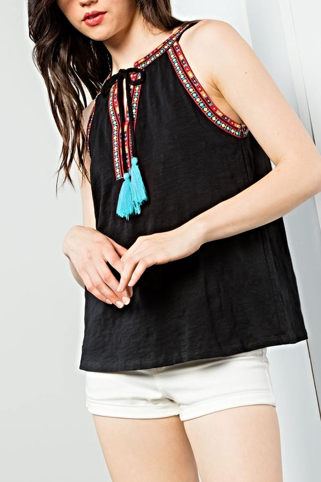 THML Clothing Sleeveless Embroidered Top - Main Image