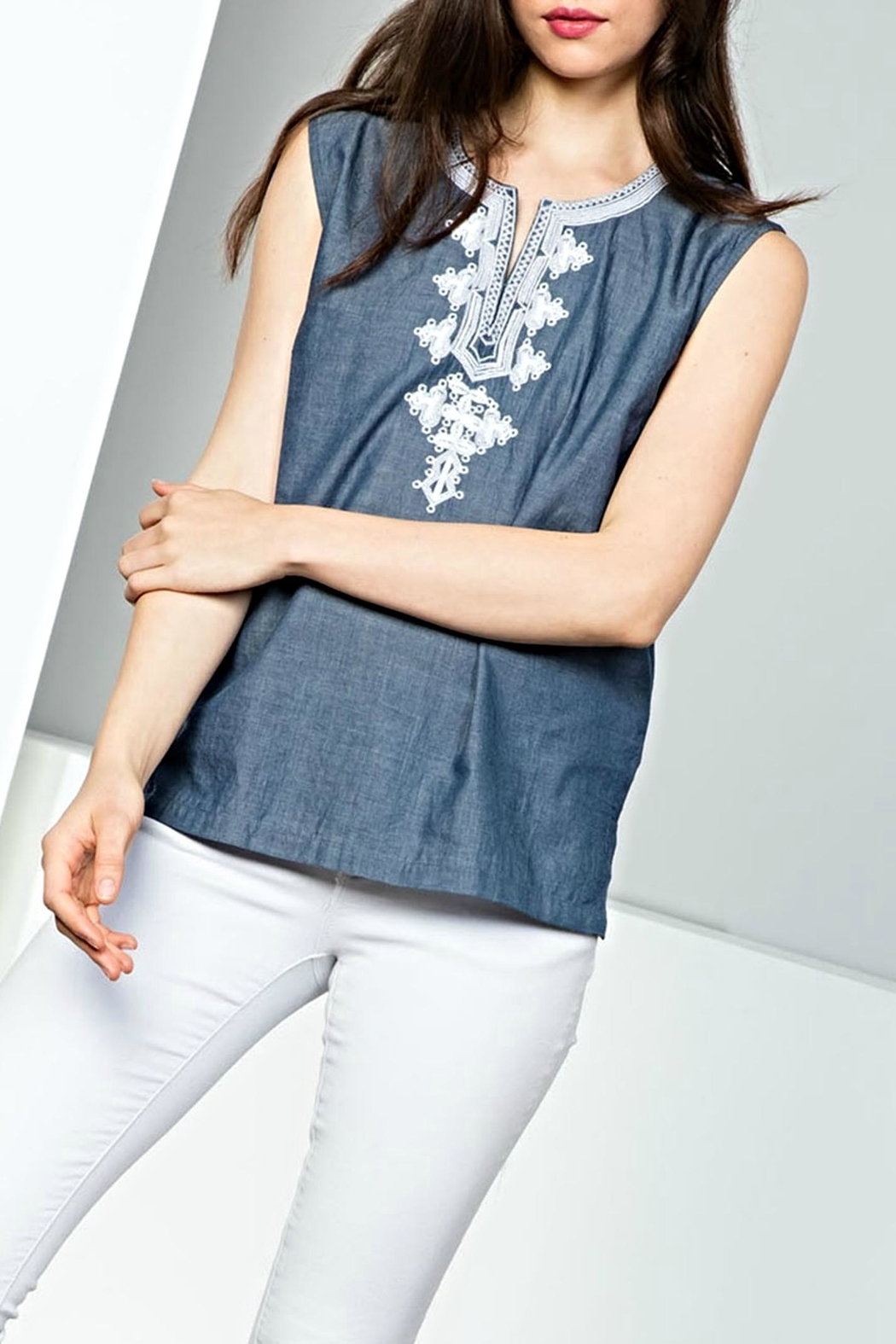 THML Clothing Sleeveless Embroidery Top - Front Full Image