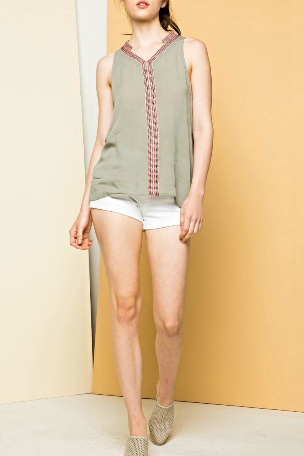 THML Clothing Sleeveless Embroidery Top - Main Image