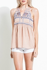 THML Clothing Sleeveless Embroidery Top - Front cropped