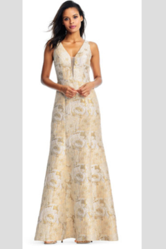 Aidan Mattox Sleeveless Floral brocade mermaid gown with plunging neckline - Alternate List Image