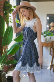 DAVI AND DANI Sleeveless Floral Print Dress with Lace Detail - Product Mini Image