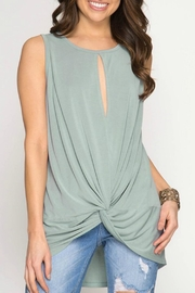 She + Sky Sleeveless Front-Twist Top - Front cropped