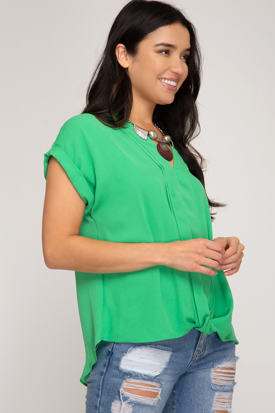 She and Sky SLEEVELESS FRONT TWIST WOVEN TOP - Front Full Image