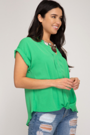 She and Sky SLEEVELESS FRONT TWIST WOVEN TOP - Front full body