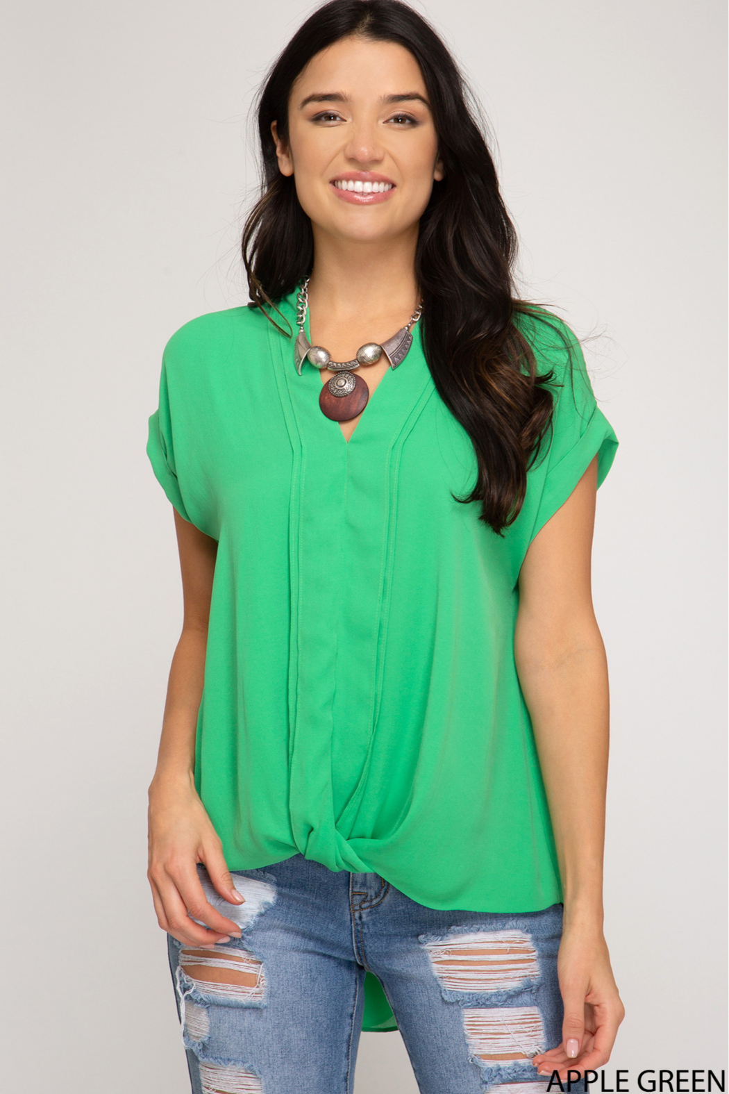 She and Sky SLEEVELESS FRONT TWIST WOVEN TOP - Main Image