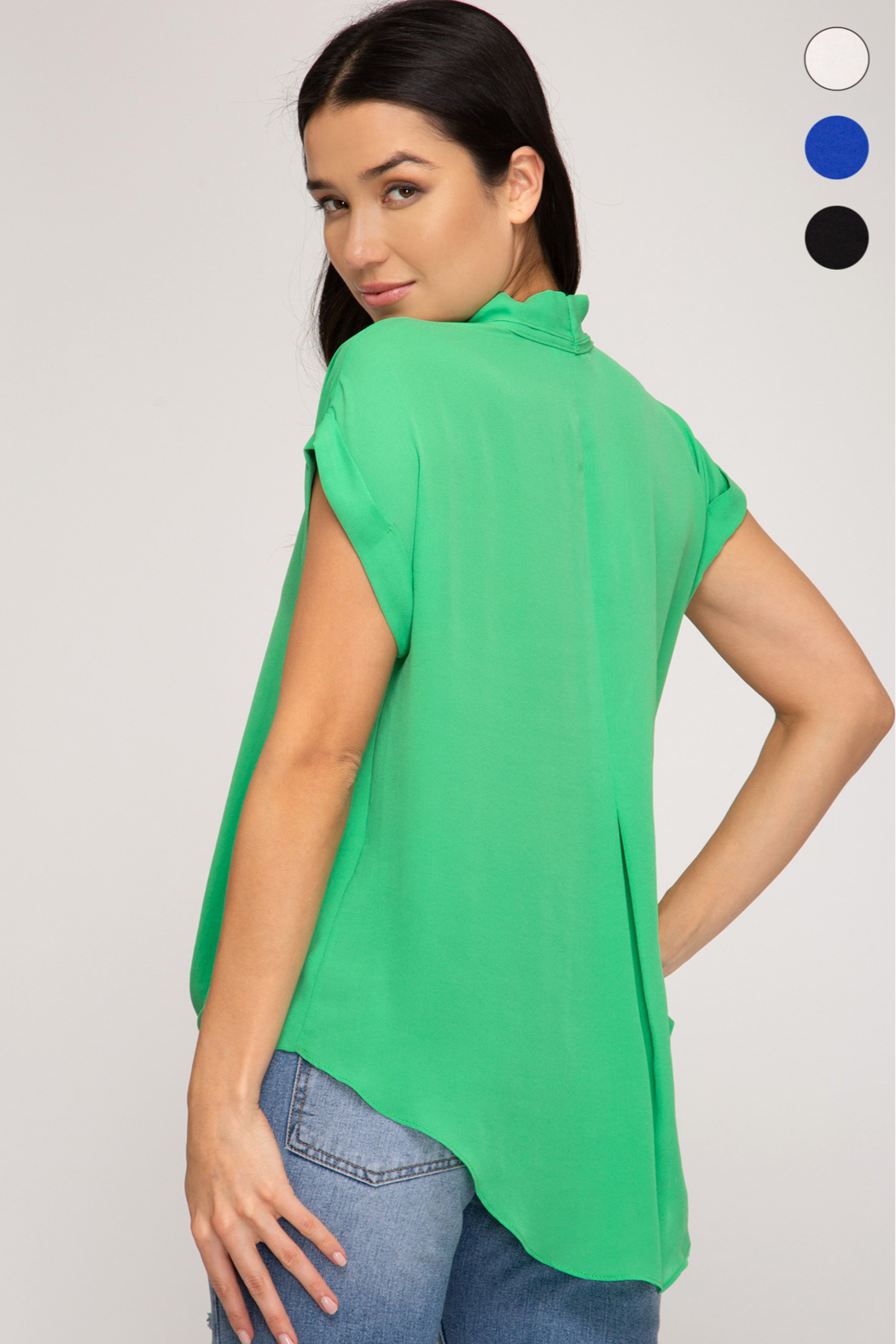 She and Sky SLEEVELESS FRONT TWIST WOVEN TOP - Side Cropped Image