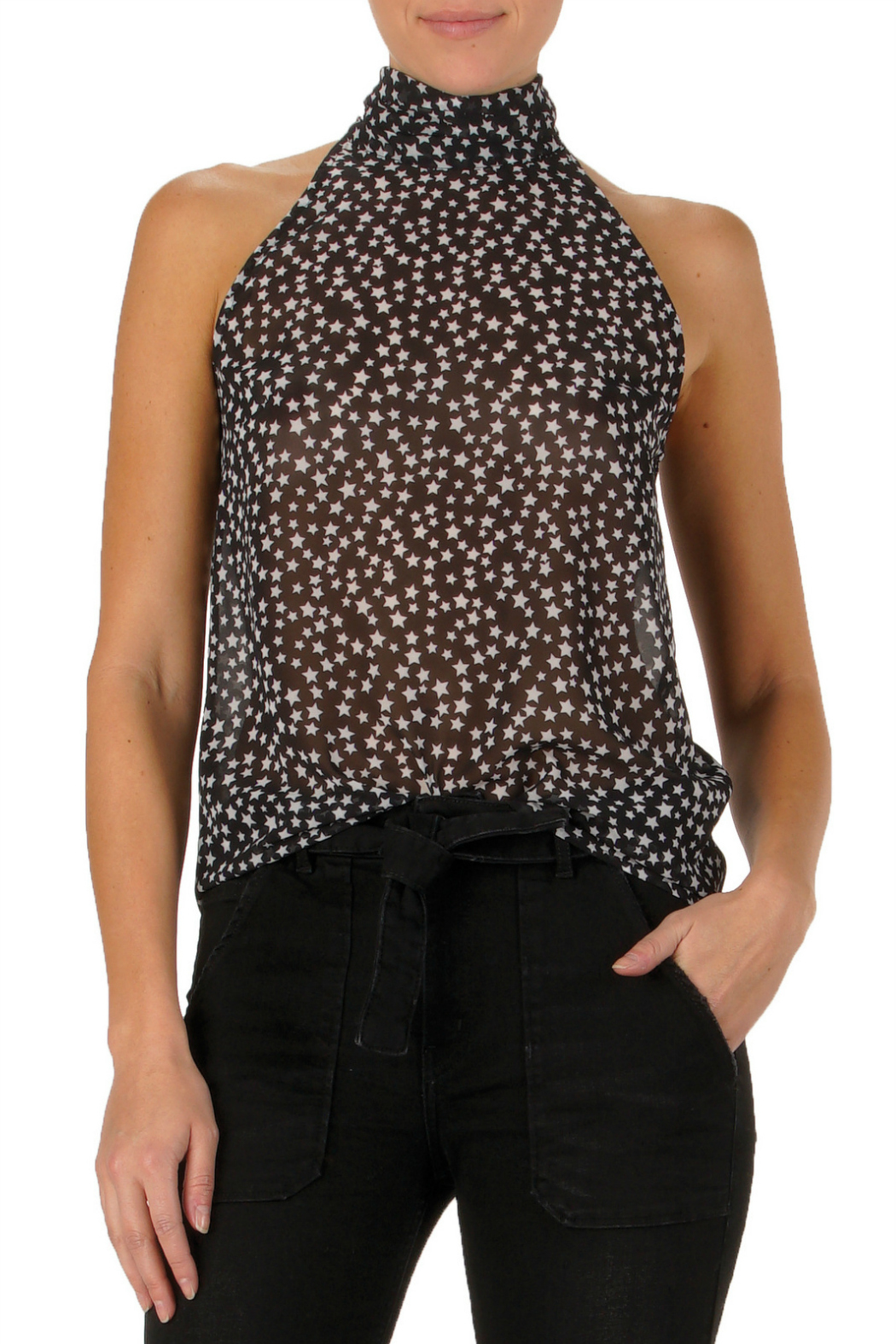 Elan  Sleeveless Halter Top - Front Cropped Image