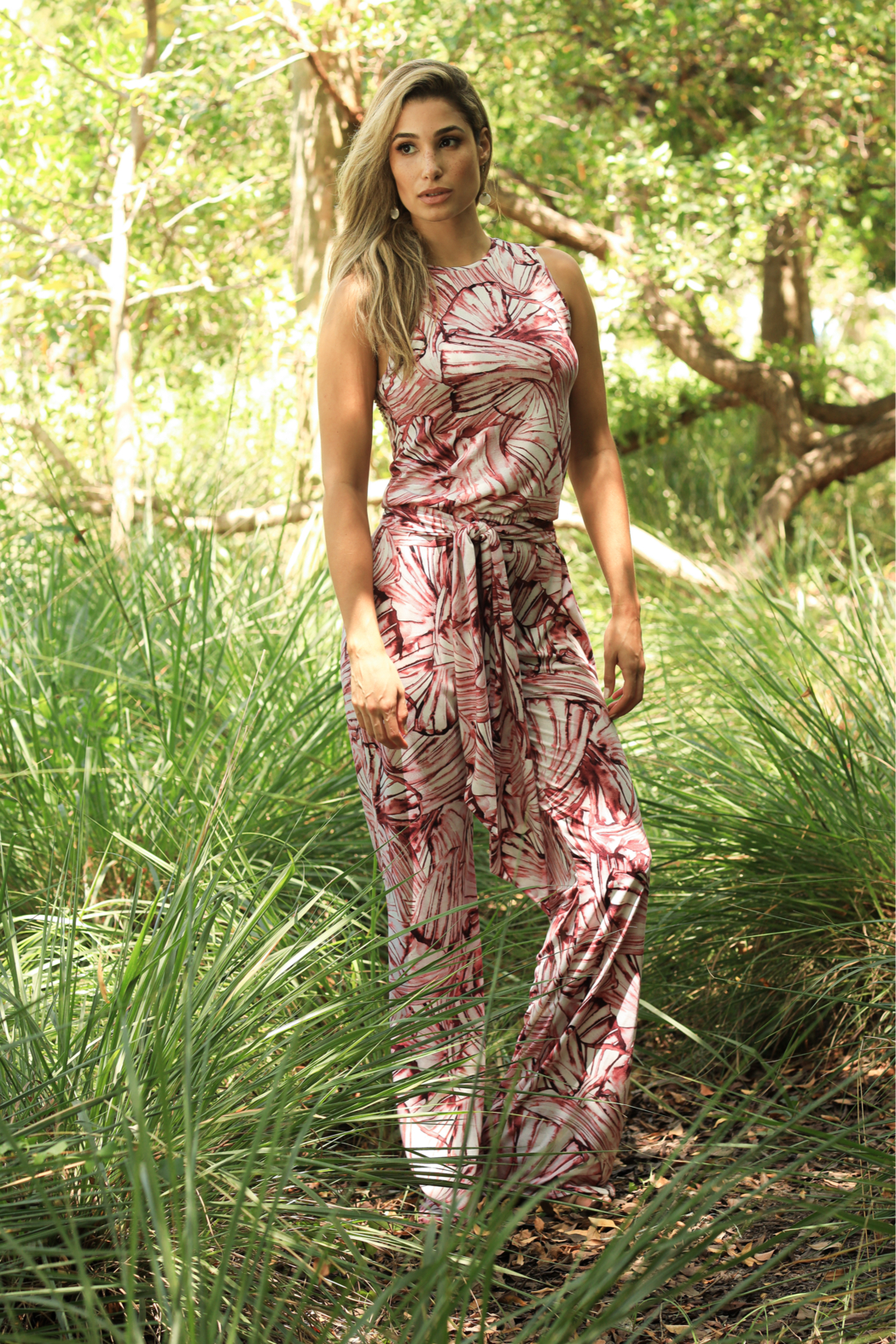 VKY & CO SLEEVELESS JUMPSUITS WITH SASH - Front Cropped Image