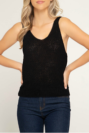 She + Sky Sleeveless knit sweater top - Product Mini Image