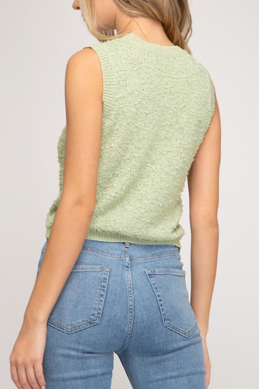 She and Sky Sleeveless Knit Top - Front Full Image