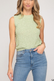 She and Sky Sleeveless Knit Top - Product Mini Image