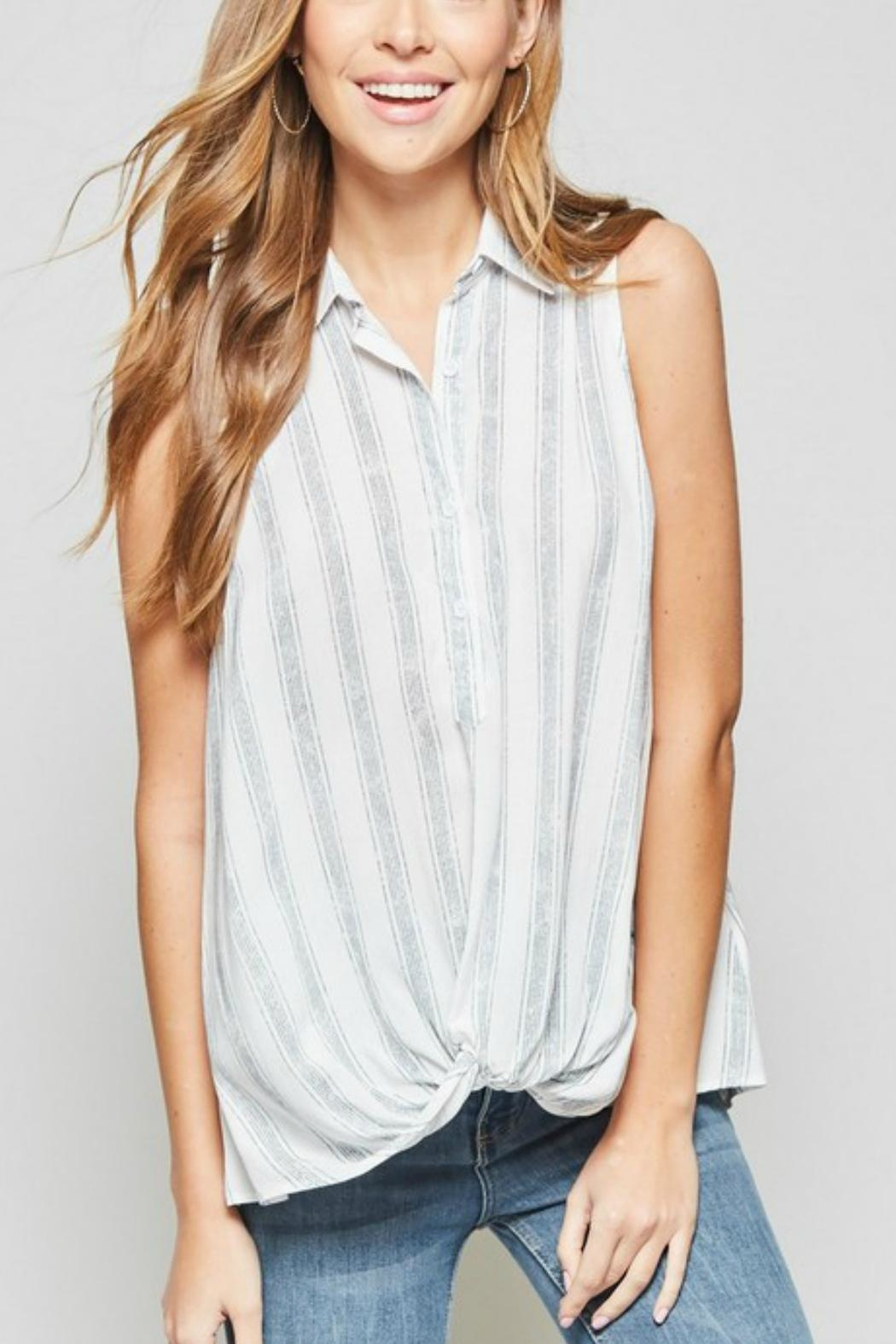 Andree by Unit Sleeveless Knotted Shirt - Back Cropped Image