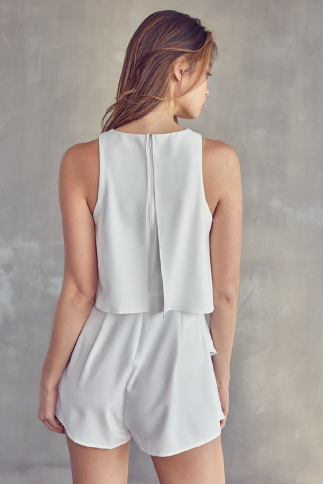Idem Ditto  Sleeveless Layered Romper - Back Cropped Image