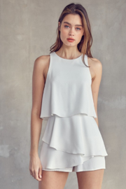 Idem Ditto  Sleeveless Layered Romper - Front cropped