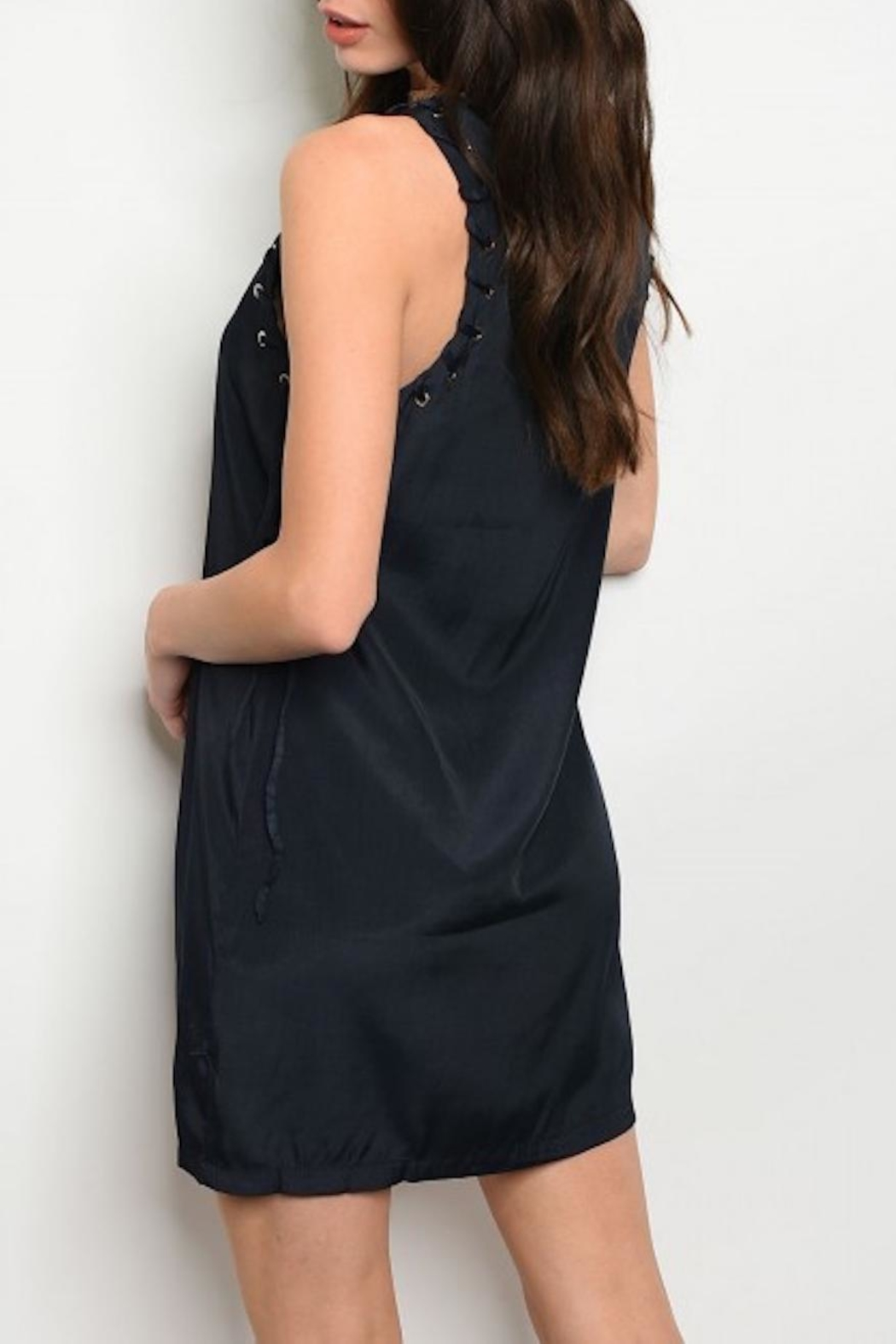 Grifflin Paris Sleeveless Navy Dress - Front Full Image