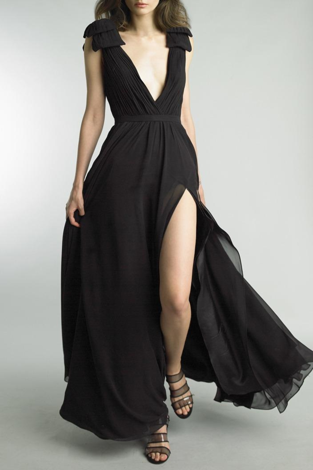 Basix Sleeveless Pleated Gown - Front Cropped Image