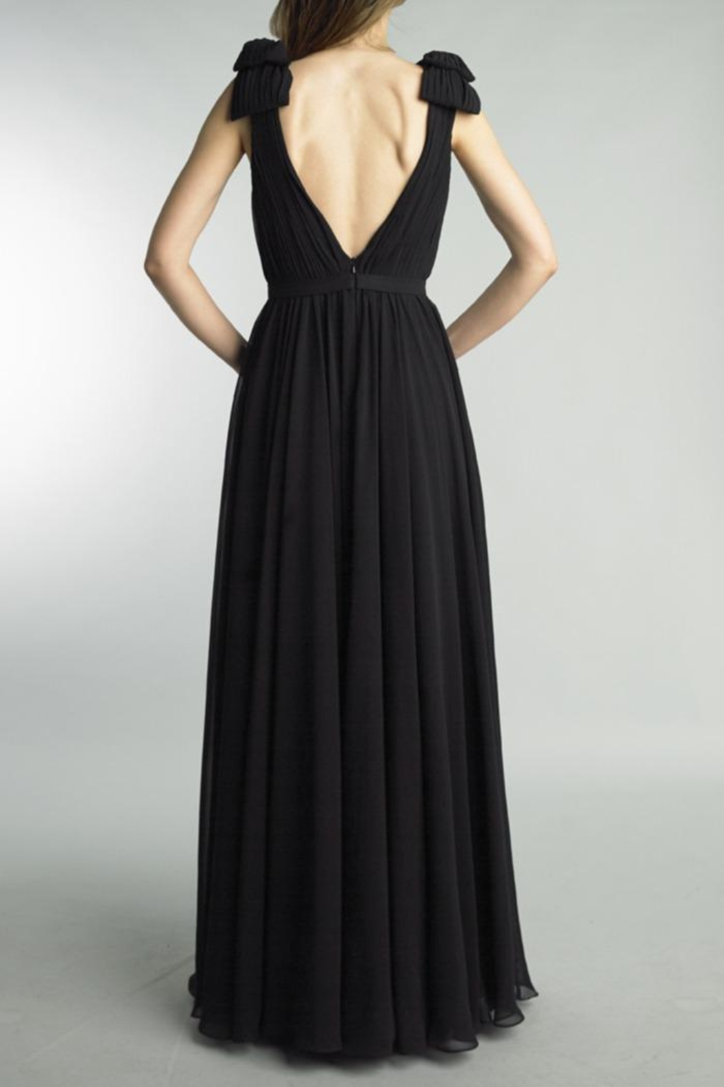 Basix Sleeveless Pleated Gown - Front Full Image