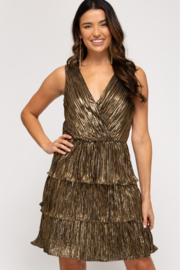 She and Sky Sleeveless Pleated Lurex Tiered Dress - Front cropped