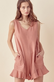 Lush  Sleeveless Pocketed Romper - Front cropped