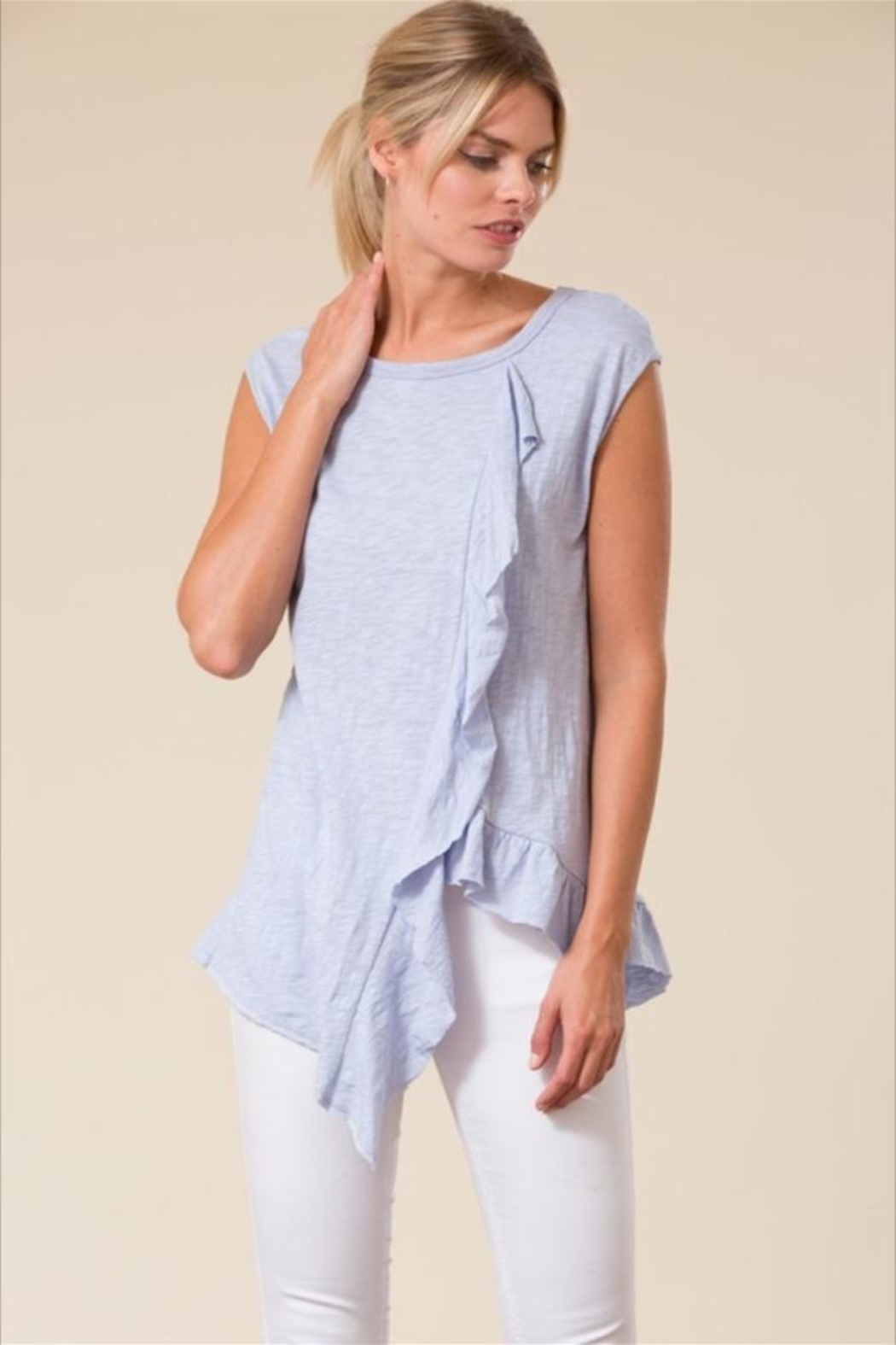 Love in  Sleeveless Ruffle Top - Front Full Image