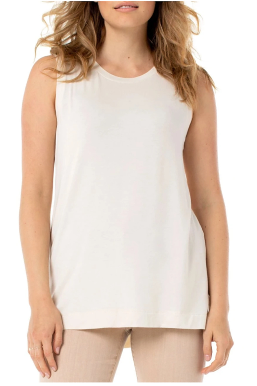 Liverpool  Sleeveless Scoop Neck Knit Tank - Front Cropped Image