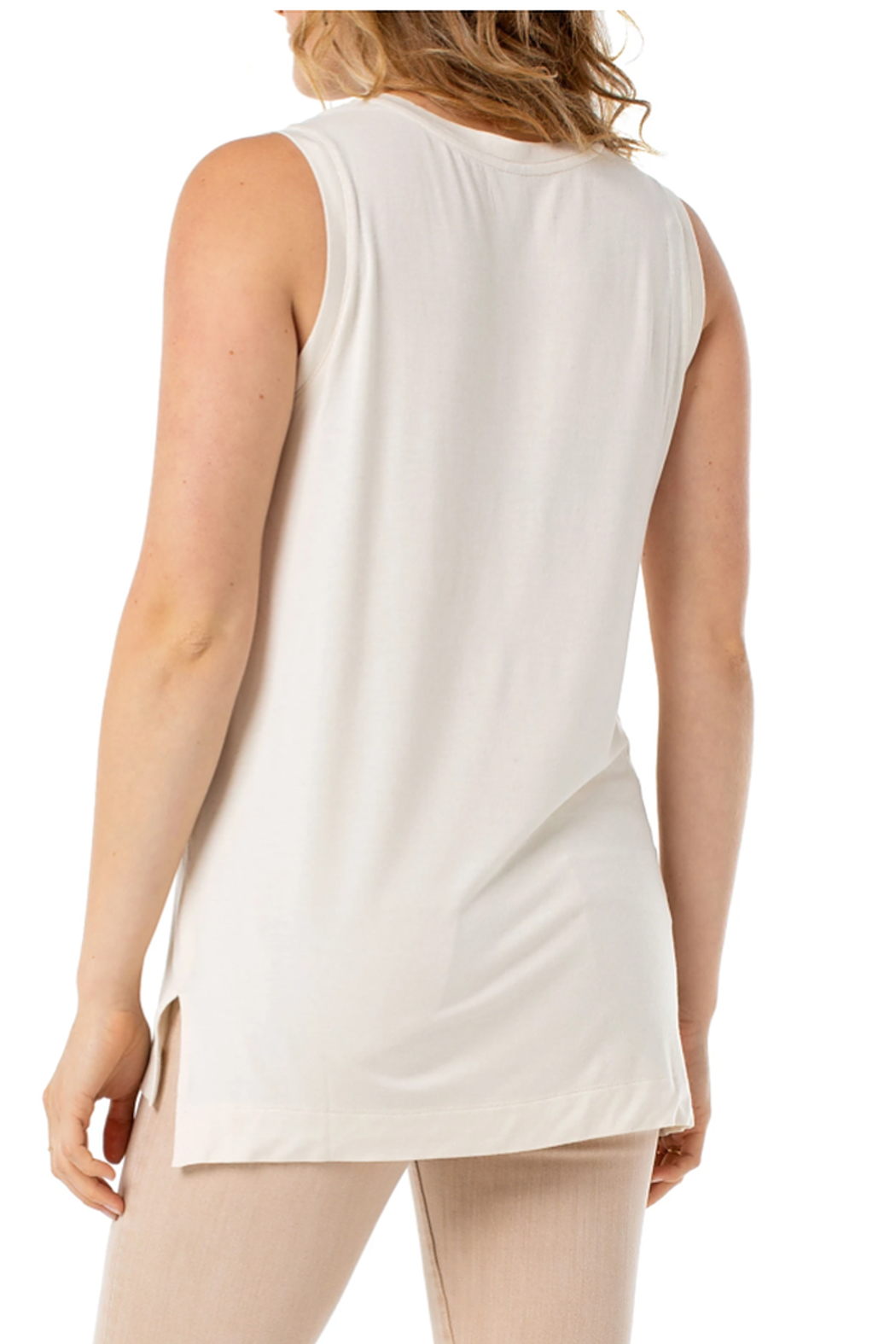 Liverpool  Sleeveless Scoop Neck Knit Tank - Front Full Image