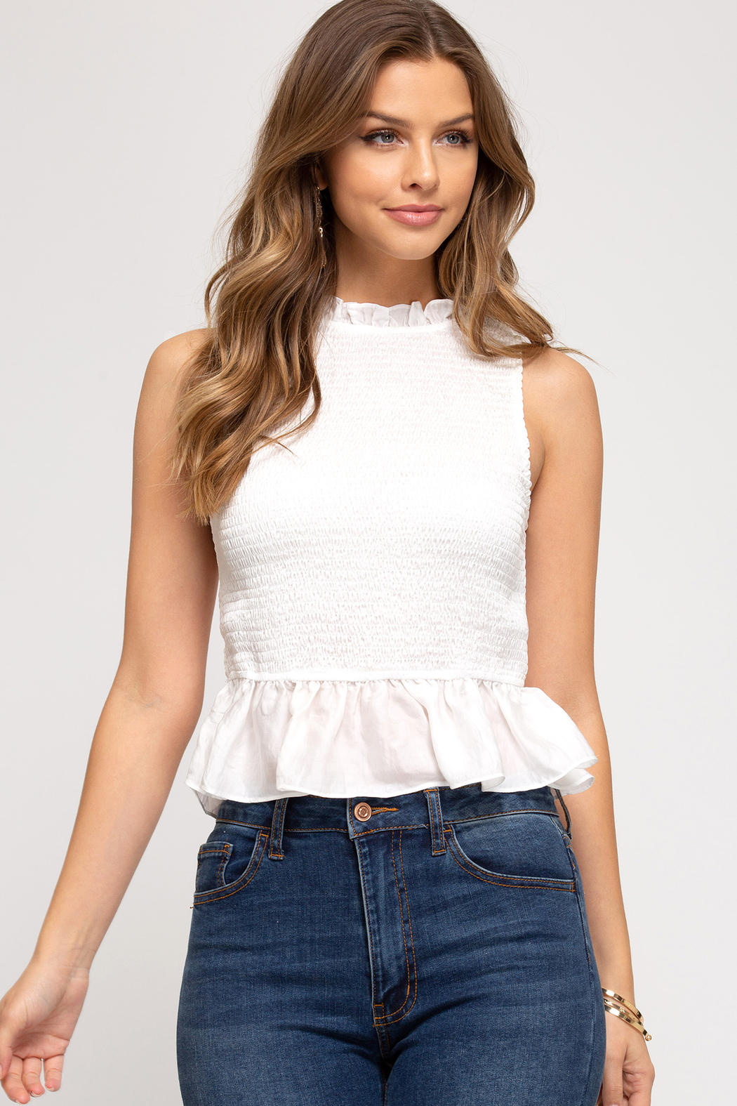 She and Sky Sleeveless Smocked Peplum Top - Front Cropped Image