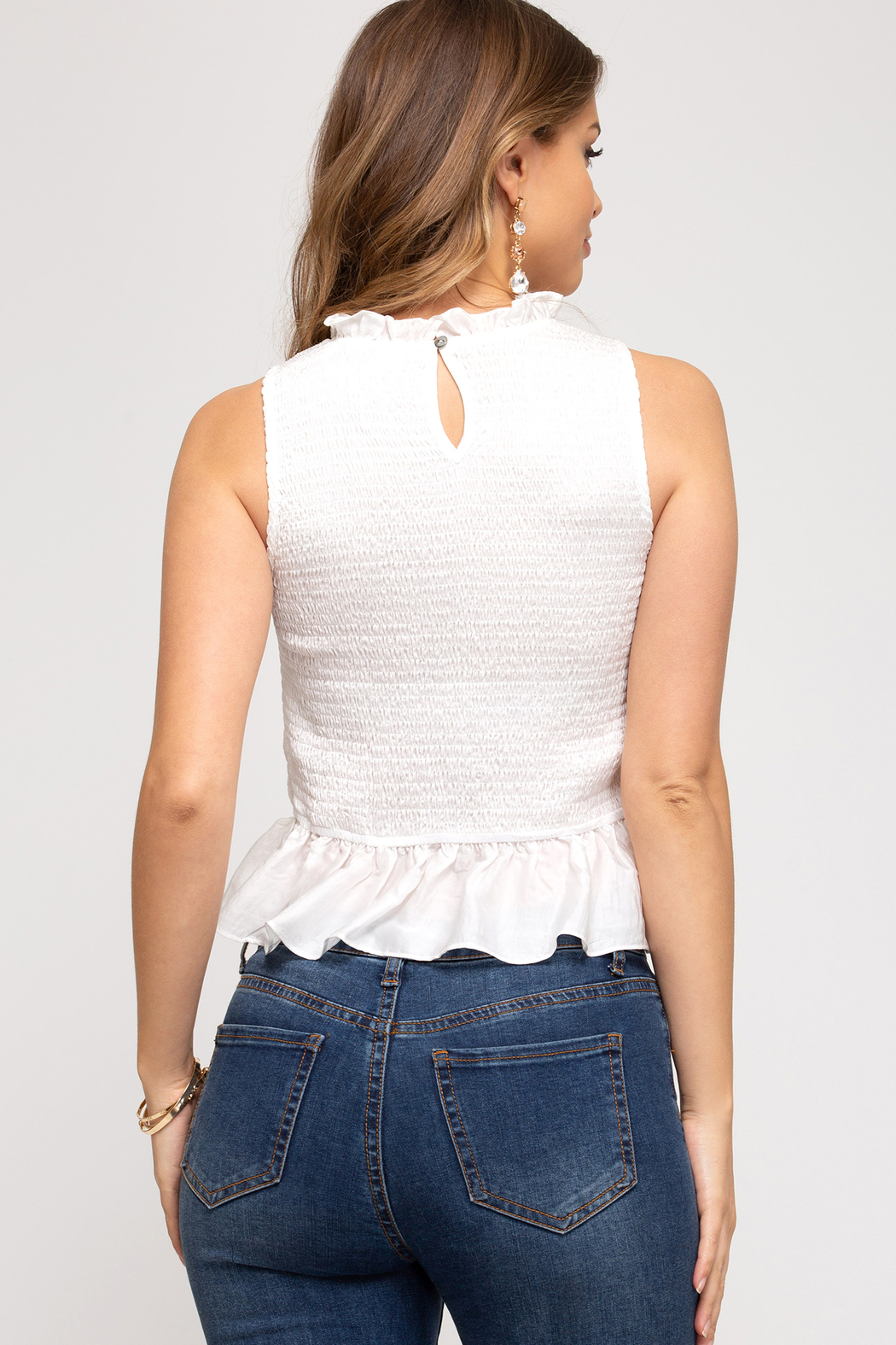 She and Sky Sleeveless Smocked Peplum Top - Front Full Image