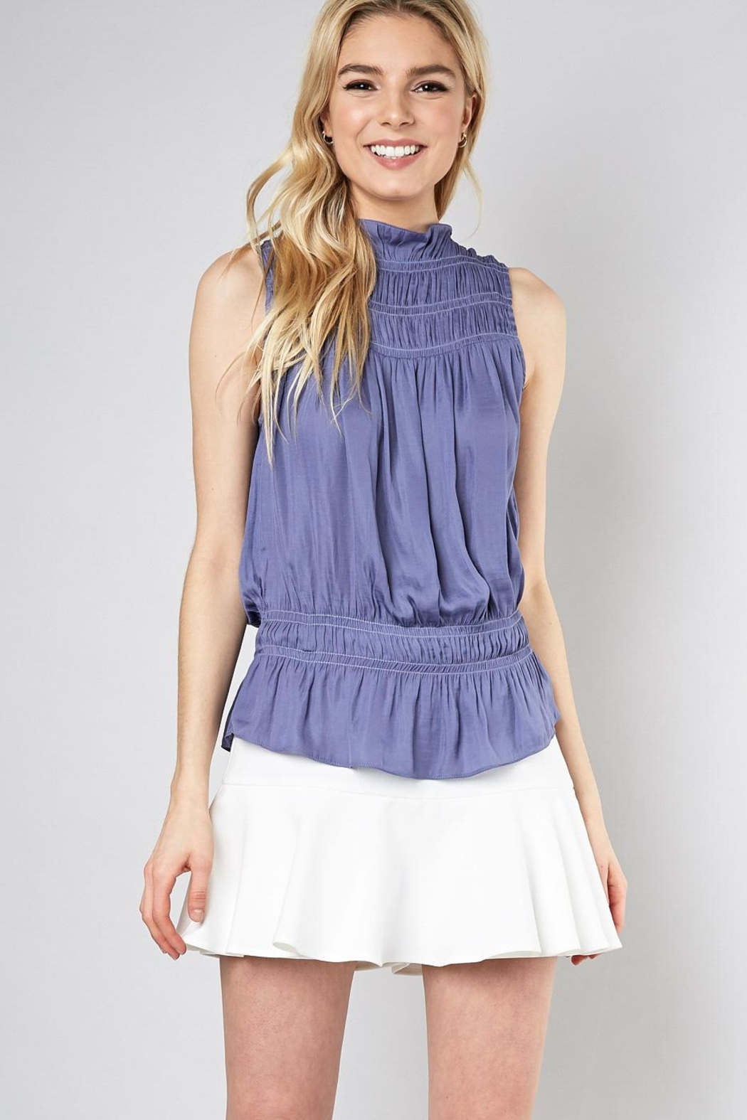Do & Be Sleeveless Smocked Top - Front Cropped Image