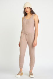 Dex Sleeveless Snap Front Ribbed Jumpsuit - Product Mini Image