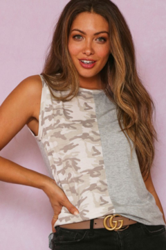 Fantastic Fawn Sleeveless Solid and Contrast Camo Tank - Product List Image
