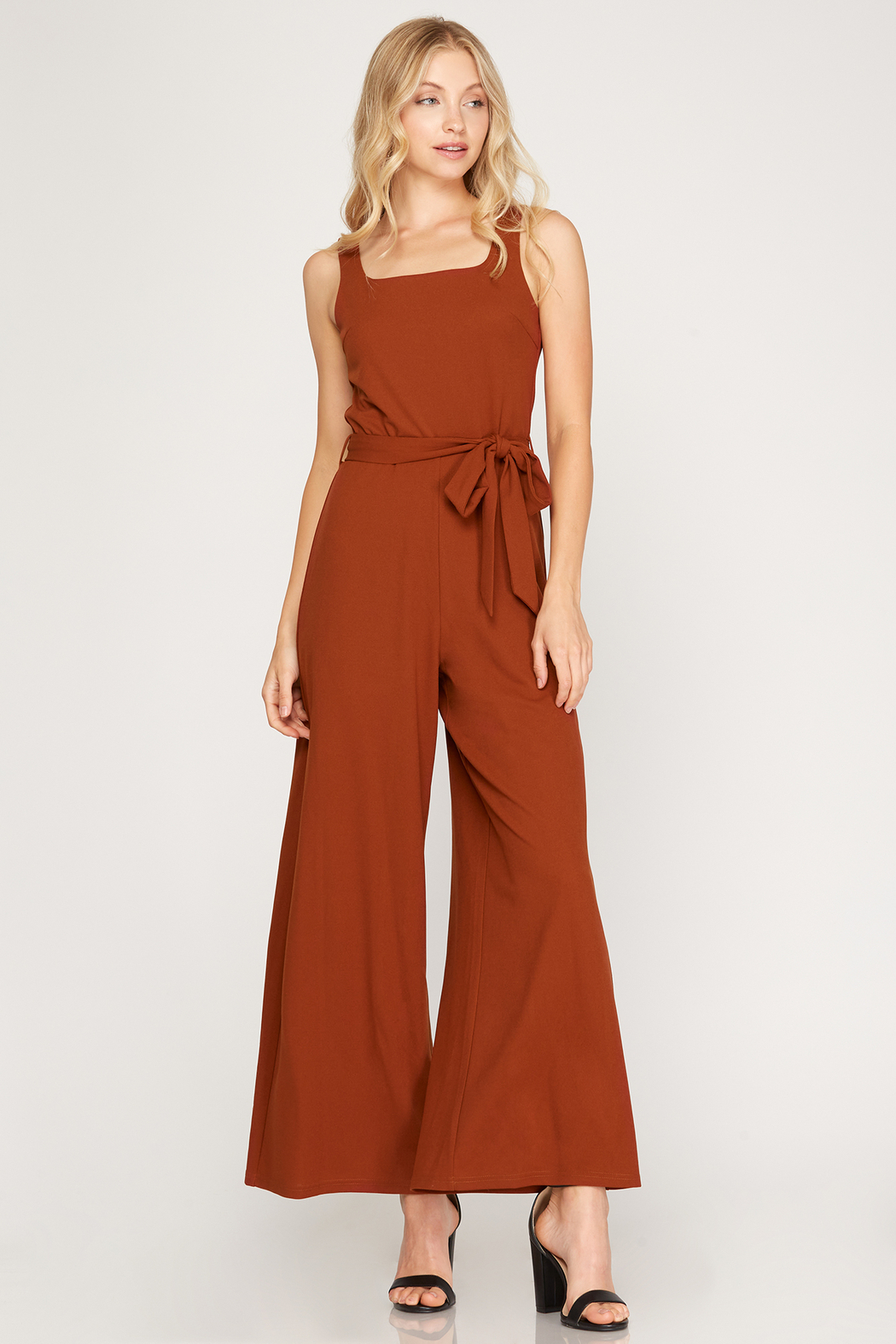 She and Sky Sleeveless Square Neck Heavy Knit Jumpsuit - Main Image