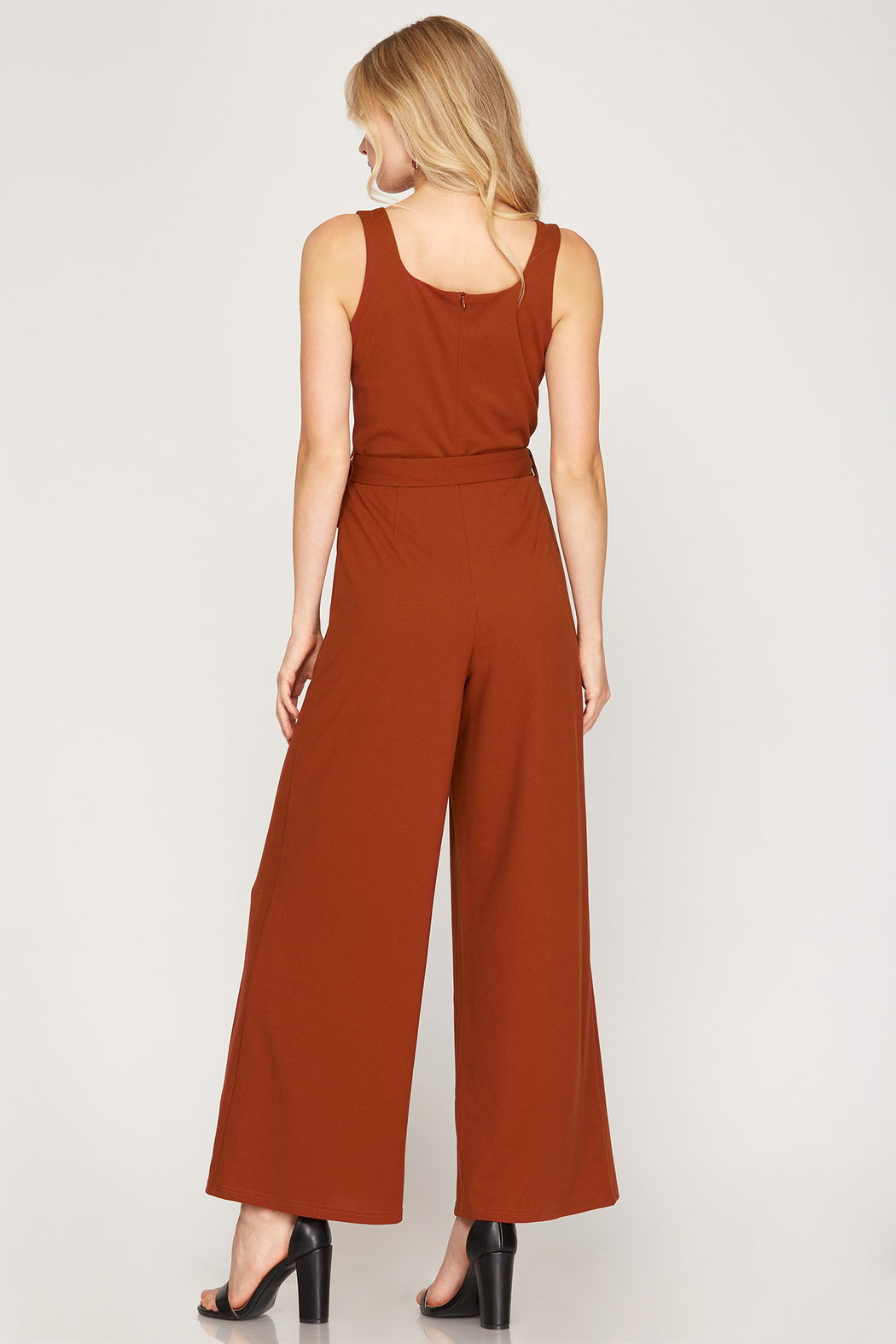 She and Sky Sleeveless Square Neck Heavy Knit Jumpsuit - Front Full Image