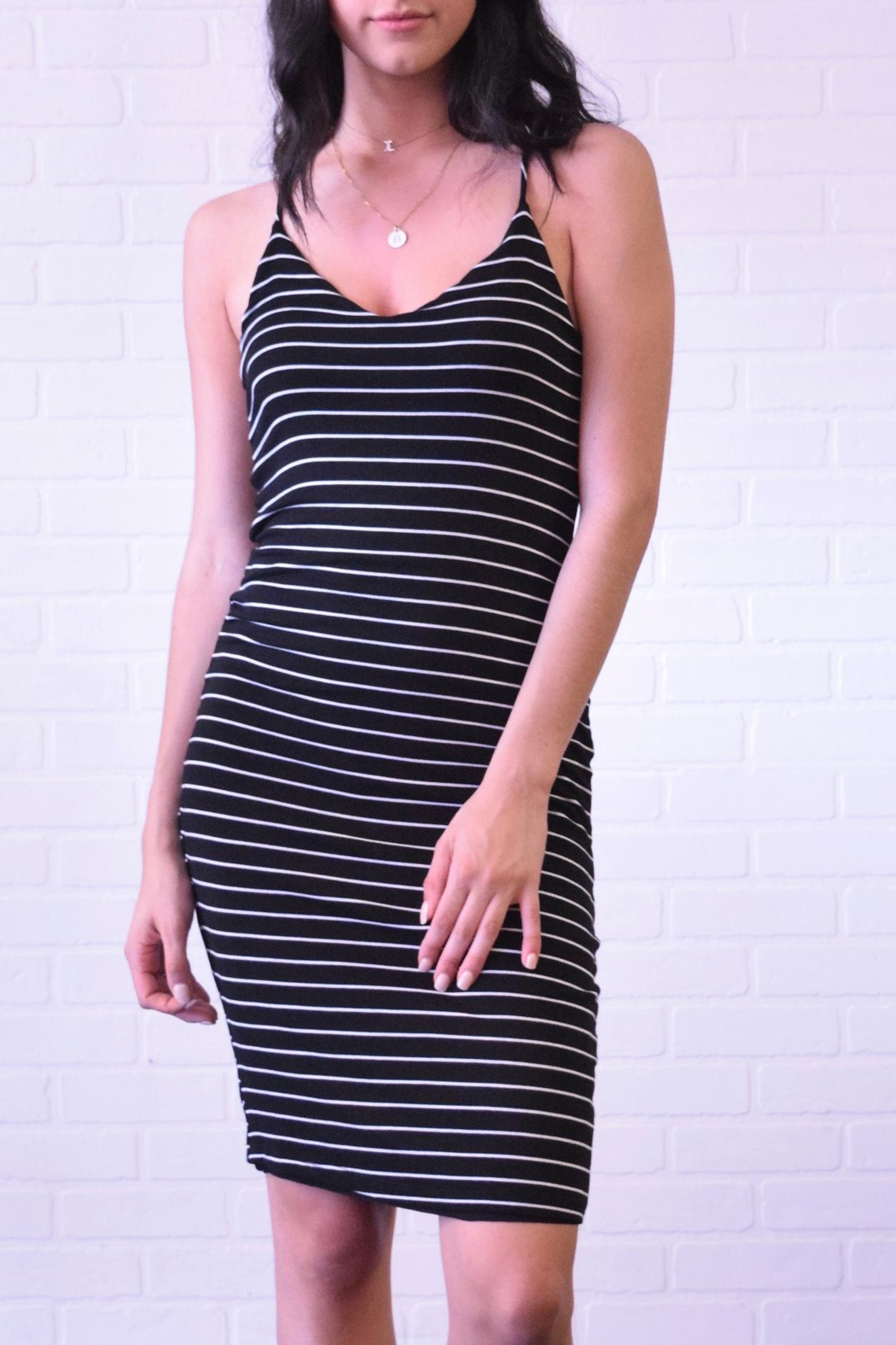 Final Touch Sleeveless Stripe Dress - Front Cropped Image