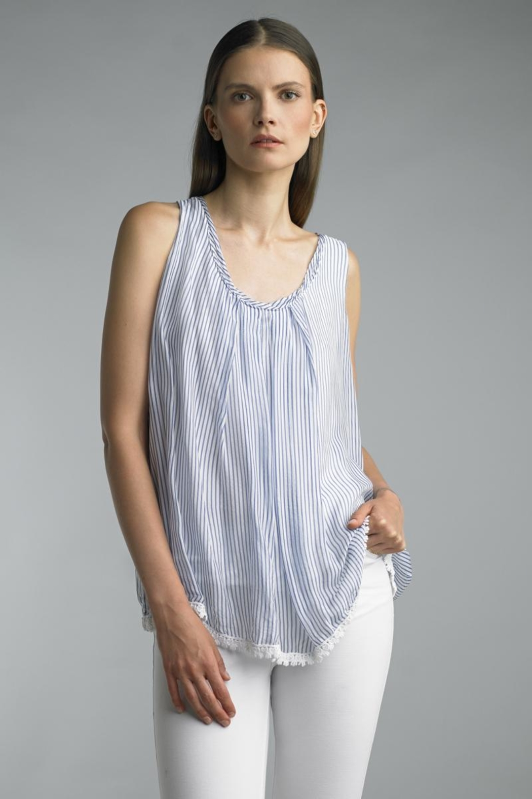 Tempo Paris Sleeveless Stripe Top - Main Image