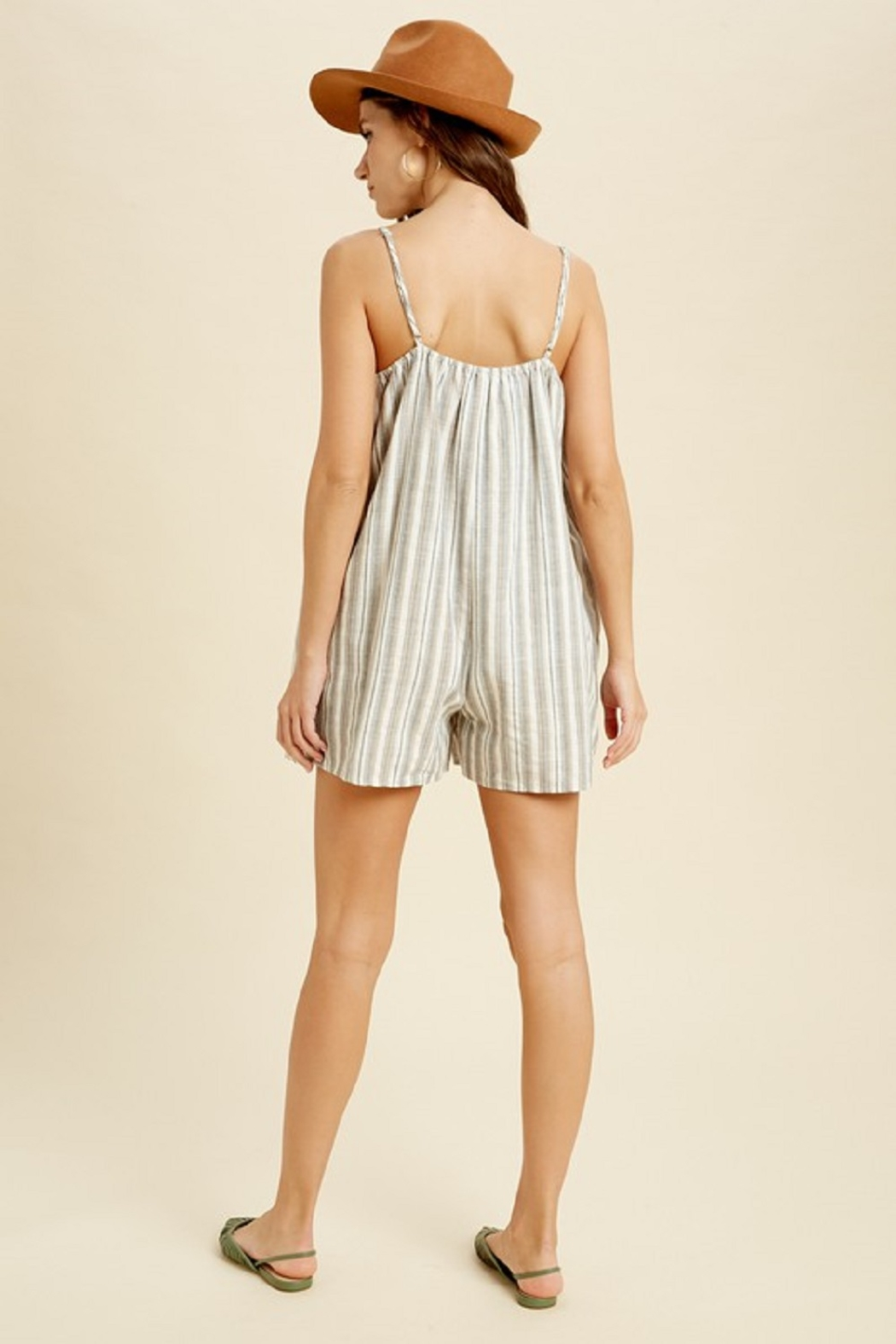 Wishlist Sleeveless Striped Pocketed Romper - Side Cropped Image