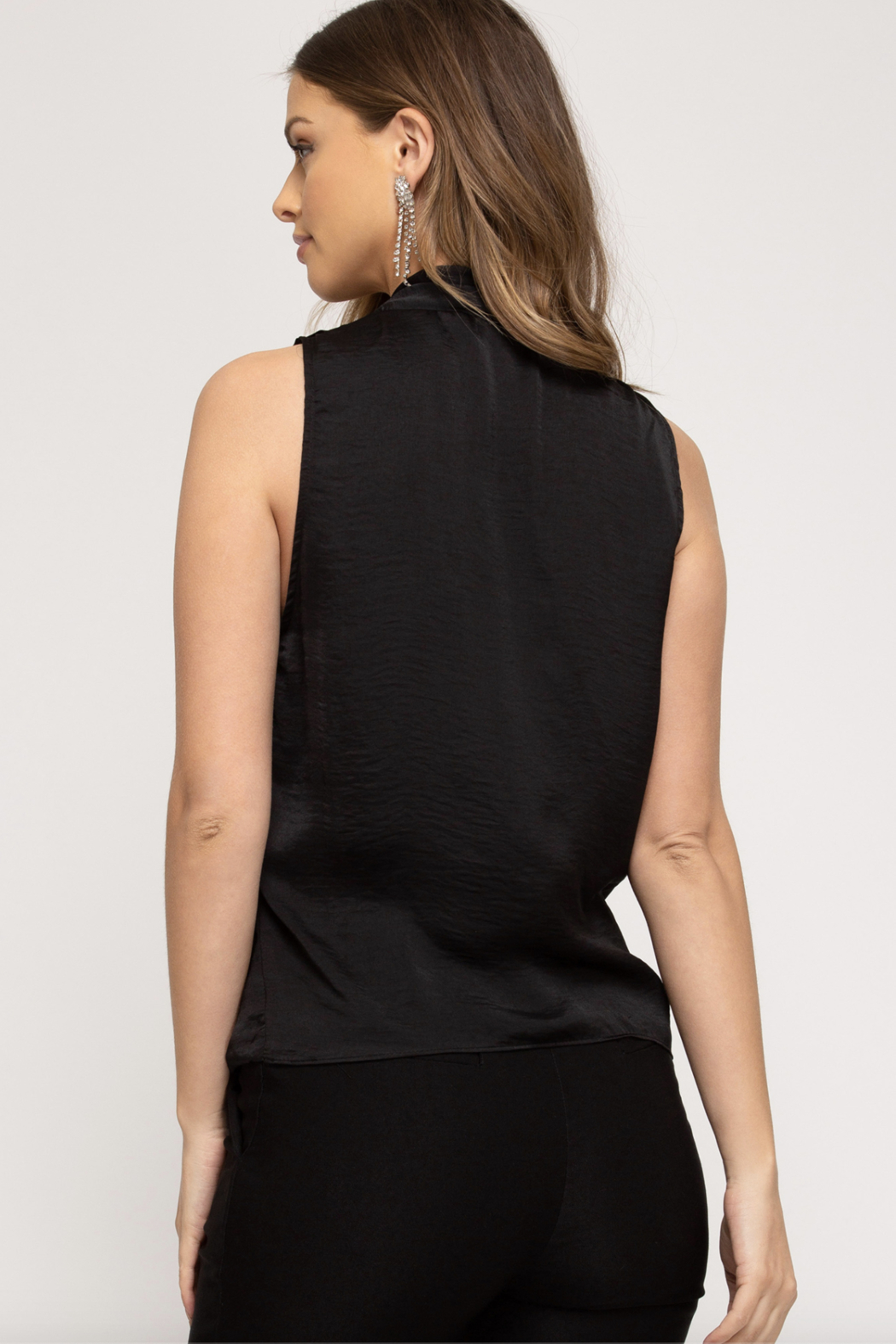 She and Sky Sleeveless Surplice Dull Satin Top - Front Full Image