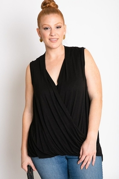 Davi & Dani Sleeveless Surplice Plus Size Top - Product List Image