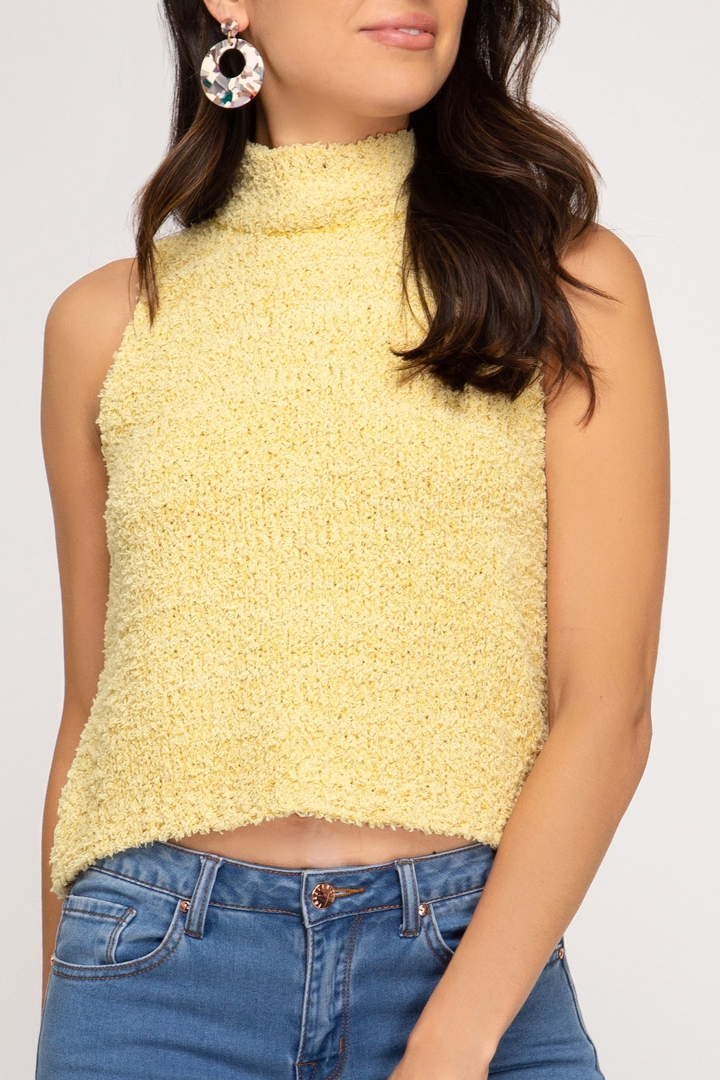 She + Sky Sleeveless Sweater Tank - Front Cropped Image
