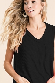 Bibi Sleeveless Thermal V Neck Top - Front cropped
